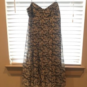 American Living Navy and White Floral Midi Dress